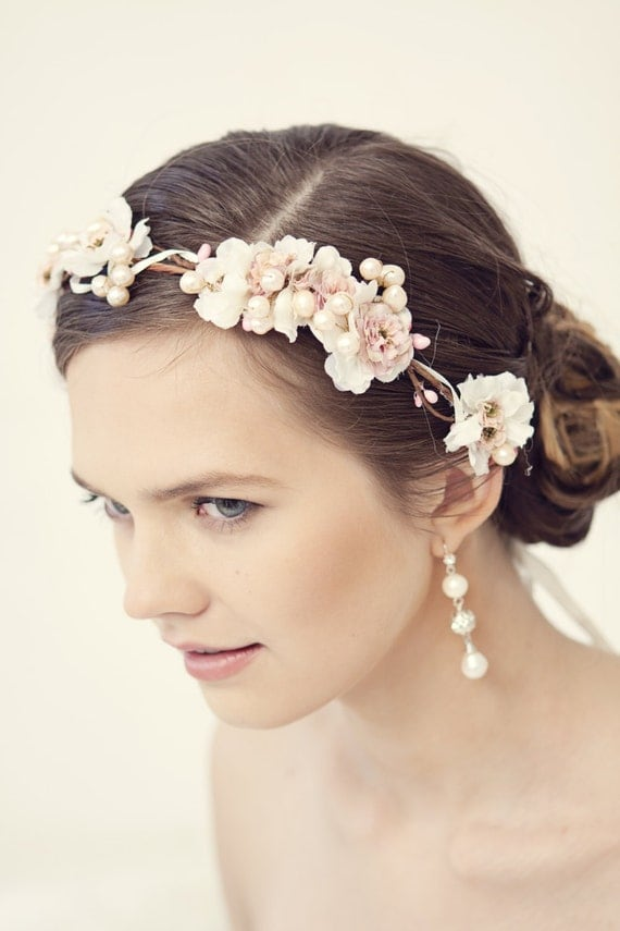 Wedding Hair Flowers Pink : Pink flower crown rustic head wreath wedding headband