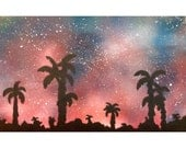 SPACE PALM SILHOUETTE custom one of a kind spray paint space painting art for Alex Broussard