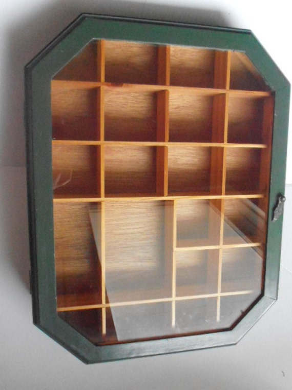 Vintage Solid Wood Green Shadow Box Curio Wall Display Case
