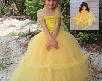 Princess Belle Inspired Matching Girl and Doll Tutu Dresses