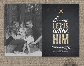 Christian Christmas Cards - Gold Glitter Chalkboard - Oh Come Let Us Adore Him - O Come Let - Verse Scripture Religious - Photo Card - Xmas