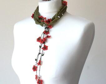 Oya Beaded Necklace, Silk Wrap Scarf, Boho Silk Necklace, Olive Green Foulard, Crochet Necklace, Skinny Scarf, Jewelry Scarf, Women's Gift
