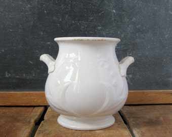 White Ironstone Sugar Bowl, Lily of the Valley Pattern, 1860s Sugar Jar, Antique Ironstone Sugar, No Lid, Anthony Shaw Burslem Ironstone