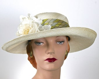 Kentucky Derby Ivory Women's Medium Straw Hat