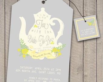 Vintage Tea Party Bridal Shower Invitation (printable) (DIY)