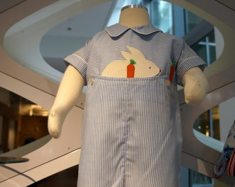Vintage Boys Easter Romper in Blue Stripes with Bunny and Carrots- Size 9 months - New, never worn