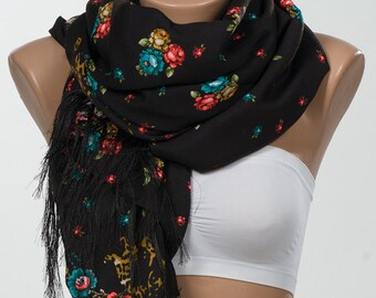 NEW SEASON. Brown and colorful floral Scarf wrap. Neck wrap or shwl for Spring.