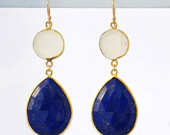 White Druzy and lapis Earrings - Bridesmaids Earrings, Double Drop earrings, lapis jewelry, two stone earrings, white druzy jewelry
