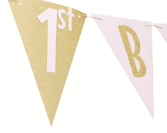 Pink and Gold Happy Birthday Banner - Pink and Gold Pennant Birthday - Pink and Gold Banner - Pink and Gold Party