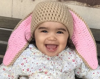 Crocheted Baby Girl Easter Hat, Baby Girl Bunny Hat, Baby Crochet Easter Hats, Easter Hat Toddler, Bunny Hat Baby, Animal Hat, Hat with Ears