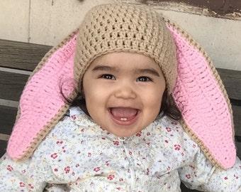 Crocheted Baby Girl Easter Hat, Baby Girl Bunny Hat, Baby Crochet Easter Hats
