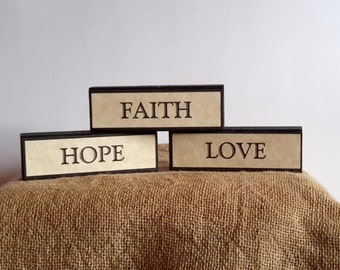 Faith Hope Love, scripture signs Bible verse sign 1 Corinthians 13 13 inspirational gift, spiritual word art, religious home decor,