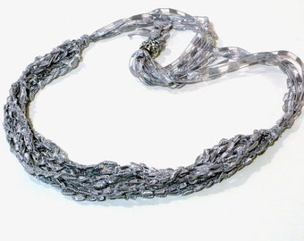 Silver Ladder Yarn Necklace: Handmade Necklace, Crochet Choker, Lariat Necklace, Gray Ribbon Necklace, Fiber Necklace, Ready to Ship