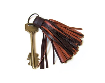 Leather Tassel Keychain, Brown color