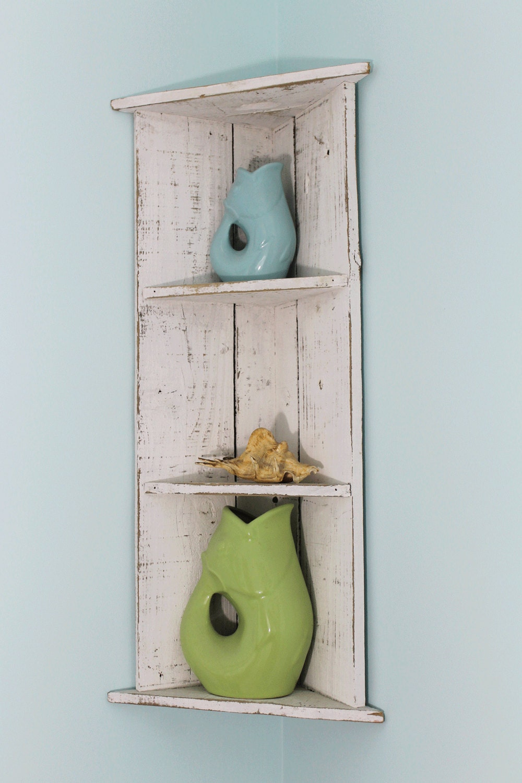 White Wood Corner Shelf Distressed Shelf By Thesummeryumbrella
