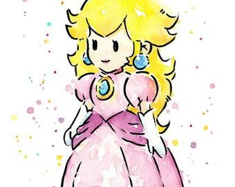 Princess Peach, Watercolor Painting, Princess Peach Art Print, Mario Print, Mario Painting, Princess Peach Painting, Mario Game Nintendo