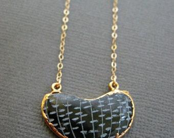 Half moon Necklace, Organic shape Charm, Crescent moon, Jade Gemstone Charm necklace, Half Moon charm necklace, Hand carved pattern gemstone