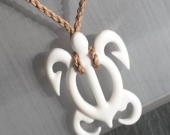 Bone Ivory Hand carved Tribal Turtle Pendant Hemp Necklace Totem charm RARE Unique carving Cream White Mineral Jewelry gift