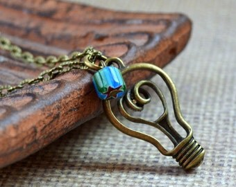SALE Light Bulb Boho Necklace Fun Antique Bronze Whimsical Chevron Bead Bohemian Pendant Fashion Jewlery Paisley Beading Free Shipping