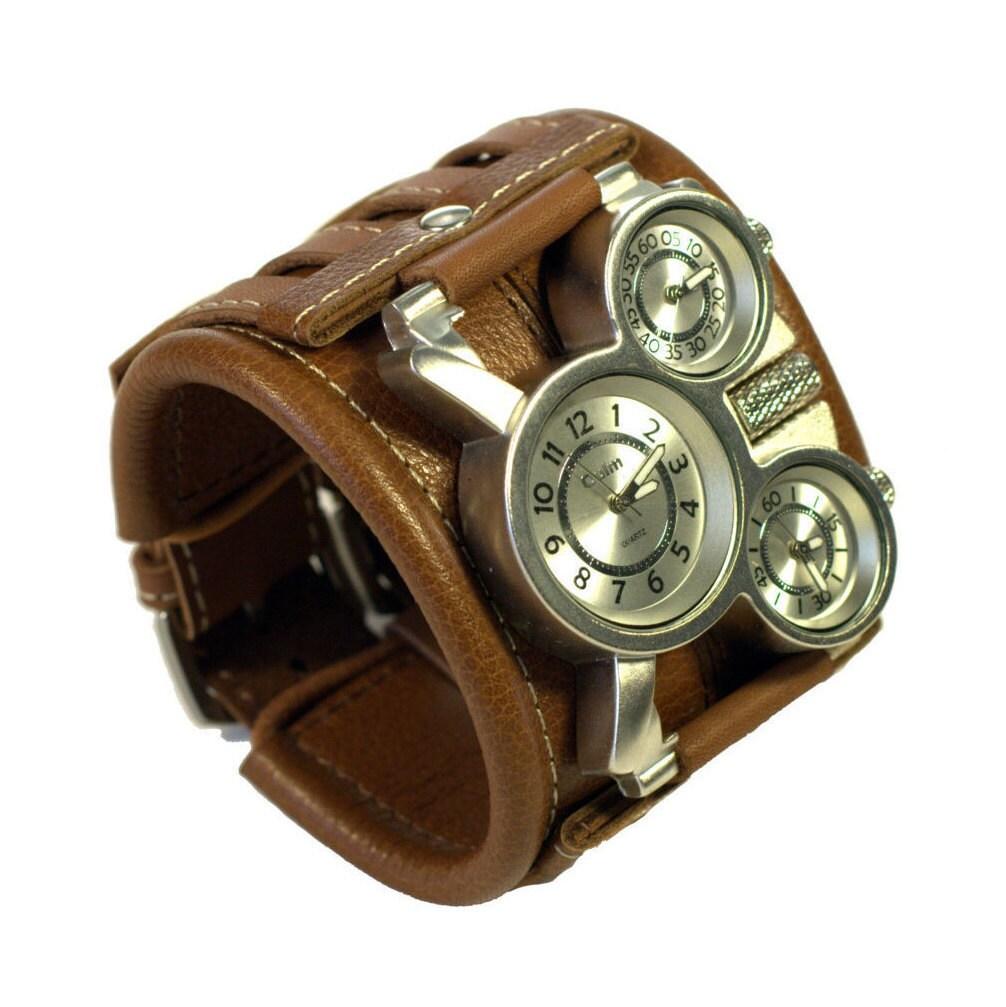 Mens wrist watch leather bracelet Tuareg-9 Steampunk by dganin