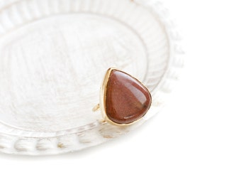 Adjustable Teardrop Brown Jasper Stone Gold Plated Ring