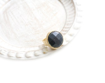 Adjustable Round Navy Blue Stone Gold Plated Ring