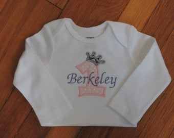 Personalized Baby Girl's First Birthday Crown Princess Onesie Tutu Set 1st (2nd also available)