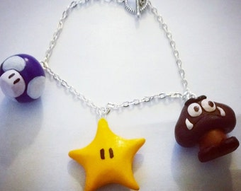 Super Mario Charm Bracelet | Nintendo Nerd | Goomba | 1up | Star | Mario Hat