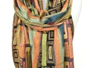 Yellow Scarf. Geometric Pashmina Scarf. Colorful Fringe Scarf. Birthday Gift. Soft Winter Scarf. Velvet Gift. 13x70in (33x180cm) Ready2Ship
