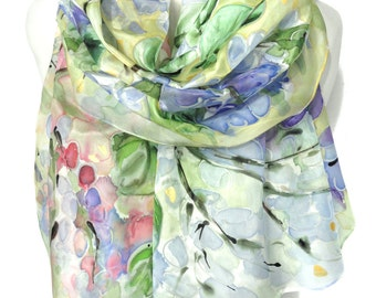 Hand Painted Scarf. Woman Birthday Gift. Genuine Art. Wisteria Shawl. Anniversary Gift Dreamy Bridal Wedding Shawl 18x71in MADE to ORDER