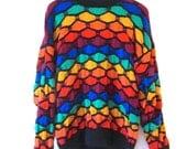 Rainbow Room 1980s Colorful Wool Sweater Jumper M
