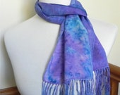 Shades of blue and rose crepe silk scarf with fringe, hand dyed long scarf #378, ready to ship