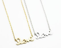 """Tiny Gold Silver """"Love Me"""" Necklace - Dainty, Simple, Birthday Gift, Wedding Bridesmaid Gift"""