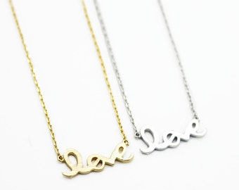 "Tiny Gold Silver ""Love Me"" Necklace - Dainty, Simple, Birthday Gift, Wedding Bridesmaid Gift"