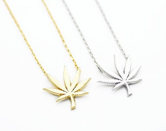"Tiny Gold or Silver ""Mary Jane"" Marijuana Leaf Necklace - Dainty, Simple, Birthday Gift, Wedding Bridesmaid Gift"