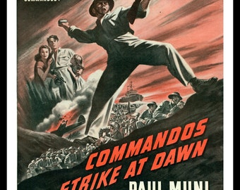 Movie Poster.  'Commandos Strike at Dawn' by Hy Rubin Renown Illustrator. 1942 Classic Vintage War Poster.   Ready for Framing.