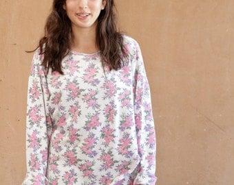 90s twin peaks COLOR BLOCK contrast floral sweatshirt