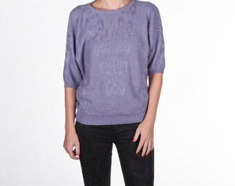 20% SALE Vintage purple knit sweater size small medium