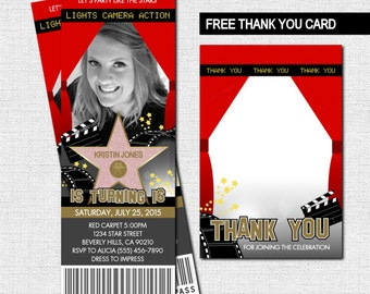 HOLLYWOOD TICKET INVITATIONS Red Carpet Party + Bonus Thank You Card - (print your own) Personalized Printable