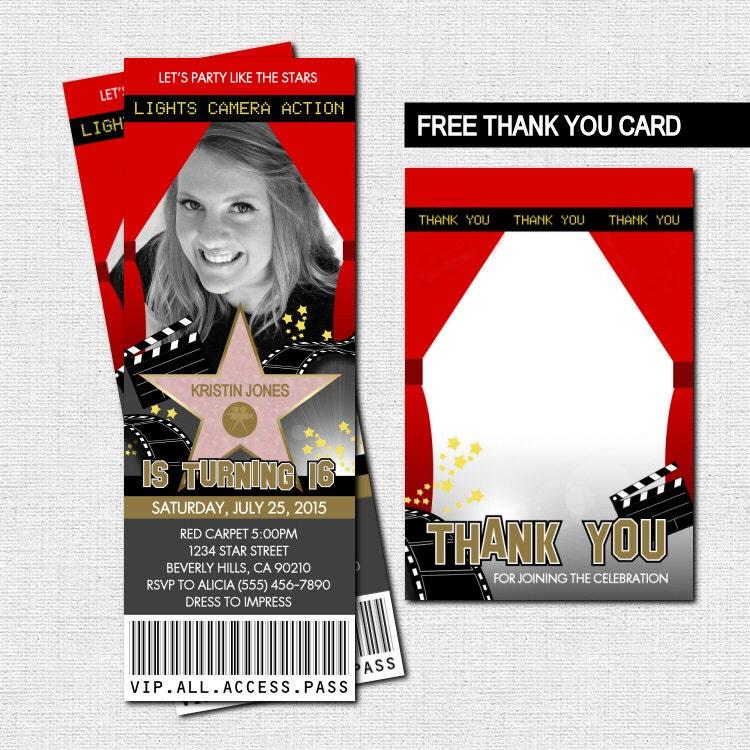 hollywood ticket invitations red carpet party bonus thank