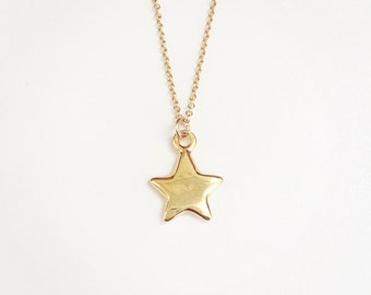 Free Shipping... 14k gold necklace with star charm