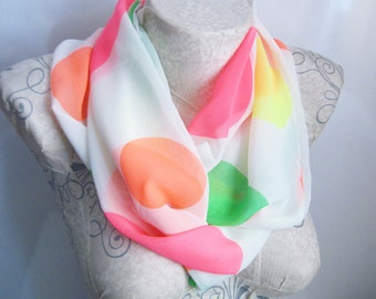 Neon Scarf , Polka Dots Scarf , White Scarf , Colorful Scarf