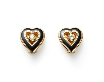 CLEARANCE SALE were 140 now 75 beautiful vintage 70's/80's Christian DIOR heart shaped gold & black enamel earrings with crystal centres