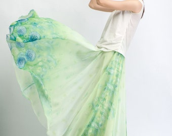 Maxi skirt chiffon skirt green women skirt (C479)