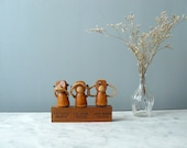 Vintage bar set Three monkeys. Danish kitchenware. Teak bottle corkscrews. kitchen decor