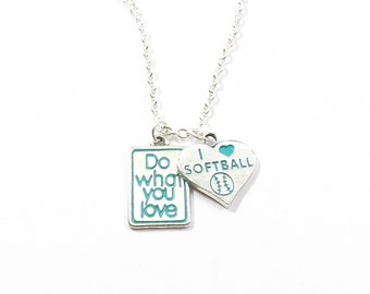 Softball Necklace, Do What You Love, I Love Softball, Softball Gift, Patina, Turquoise, Sports Necklace, Team Jewelry, Softball Jewelry