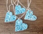 Ceramic Heart Essential Oil Diffuser Pendant Aromatherapy Jewellery  Handmade in UK