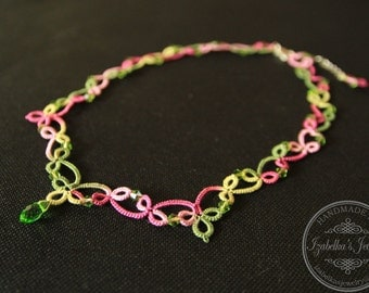 Lace tatted necklace with crystal beads II