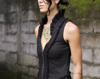 Victorian vest ~ sleeveless vest ~ Burlesque vest ~ Steam punk vest ~ Lace vest ~ Black vest