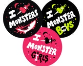 Coey: I Love Monsters Stickers & Buttons